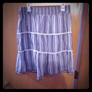 linen lined skirt blue